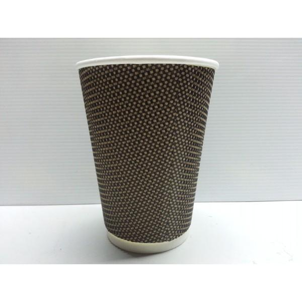 CUP 12oz COFFEE CHECKERED TRIPLE WALL BROWN/RED PK25 (CTN500)
