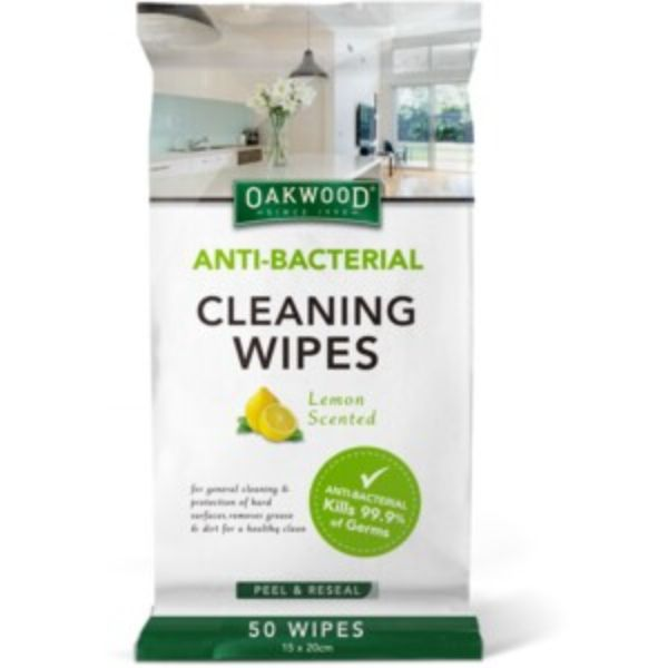 ANTI-BACTERIAL CLEANING WIPES PK50 OAKWOOD