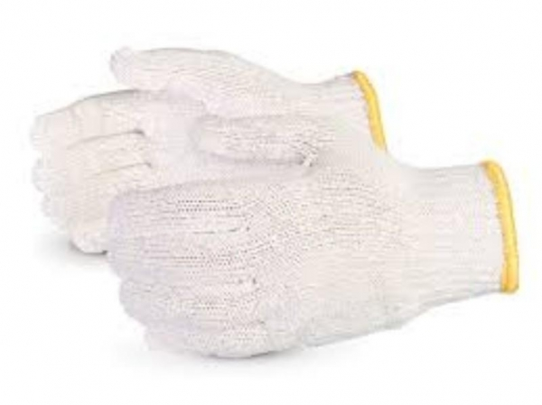 GLOVES KNITTED POLYCOTTON SMALL PAIR YELLOW TRIM PROT/ALSAFE