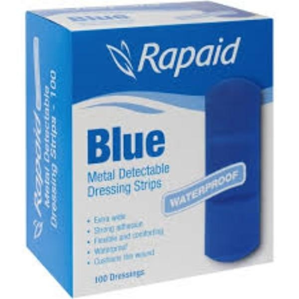BANDAID RAPAID BLUE STRIPS X/WIDE W/PROOF PK50