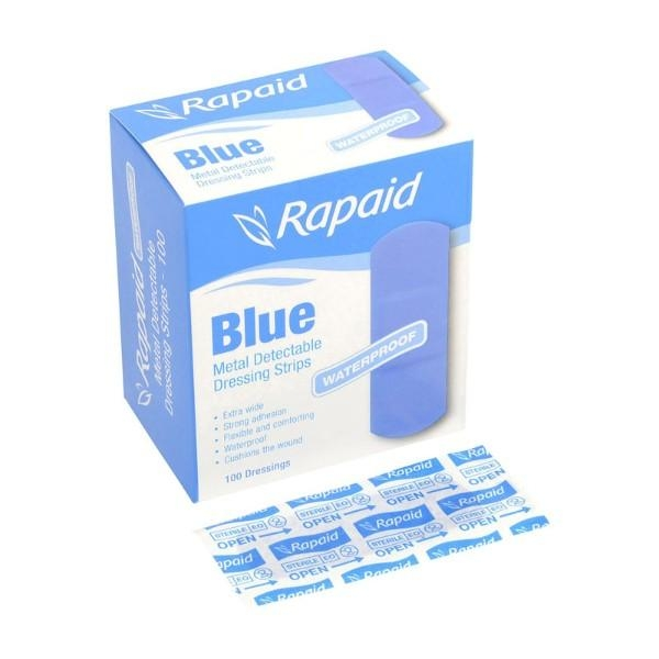 BANDAID RAPAID BLUE X/WIDE W/PROOF PK 100 METAL DETECT