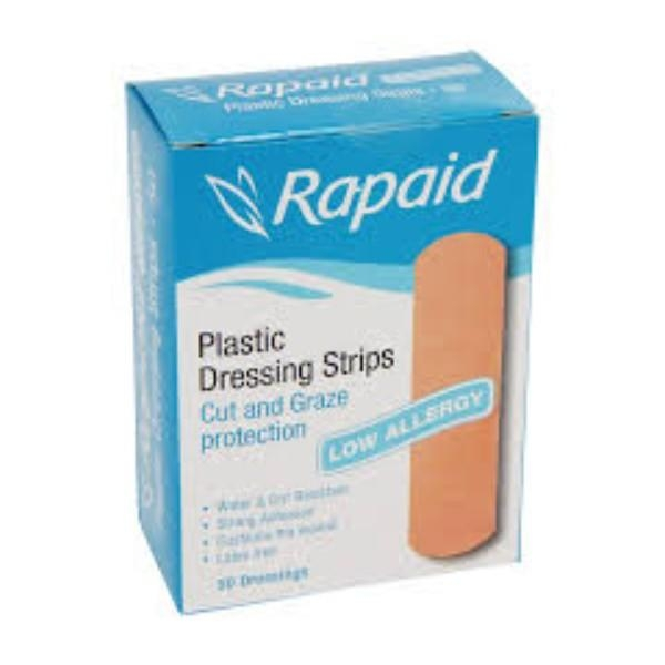 BANDAID RAPAID LOW ALLERG PLASTIC STRIP PK50 LATEX FREE