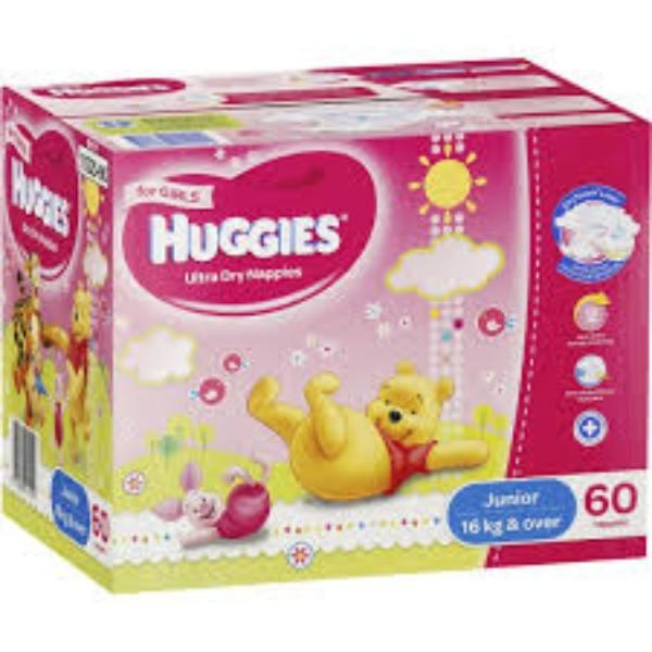 NAPPIES HUGGIES JUNIOR GIRL 16+ (EACH CTN 60) - Click for more info