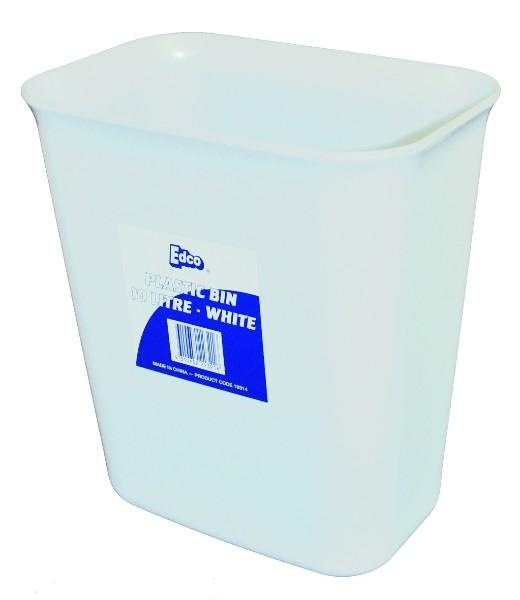 BIN 10LTR WHITE PLASTIC (edco)