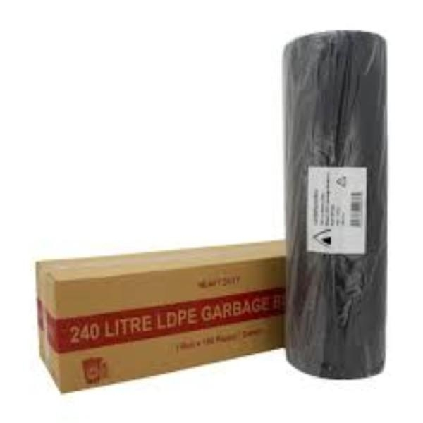 BAG GARBAGE 240LT HEAVY DUTY BLACK ROLL (100)TP