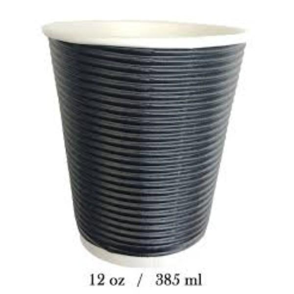 CUP 12oz TRIPLE WALL COMFY TOUCH BLK SLV 25 (CTN500)