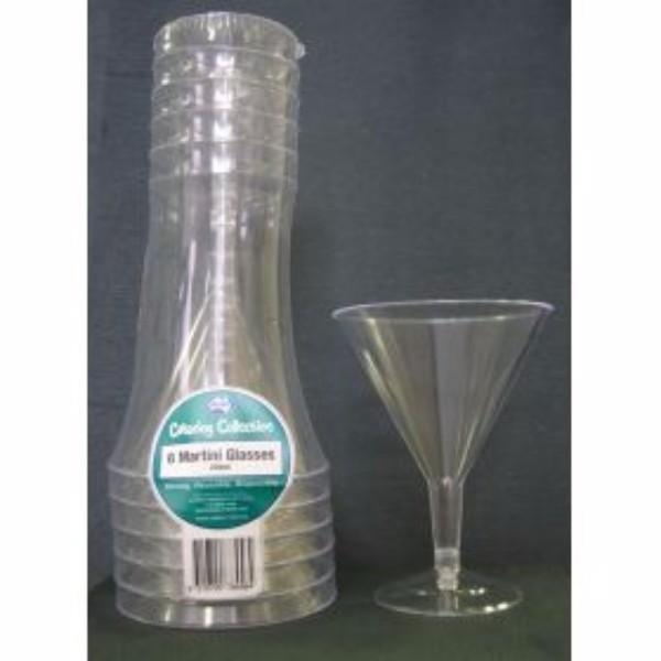 GLASS MARTINI 250ML PK 6 DISPOSABLE