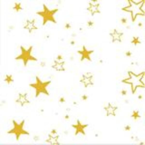 TABLE CLOTH PLASTIC ROLL 30M GOLD STARS