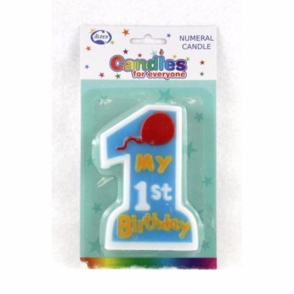 CANDLE 1ST BIRTHDAY BOY JUMBO PK 1