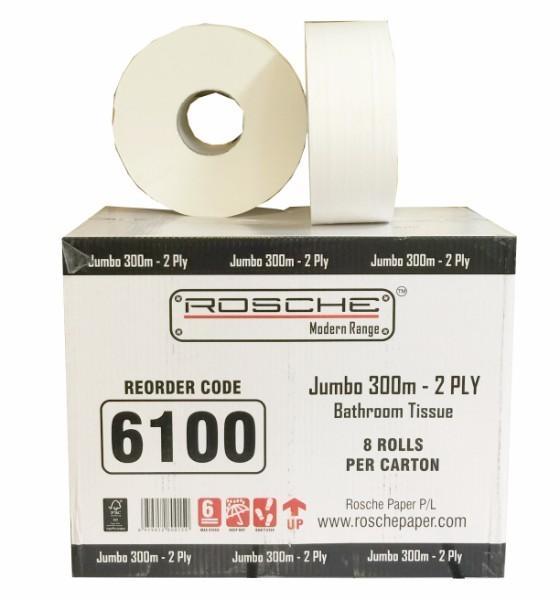 TOILET ROLL JUMBO 2PLY ROSCHE 300Mx8