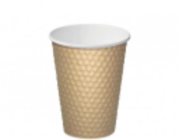 CUP 12oz COFFEE BROWN DIMPLE PK 25 (CTN 500)