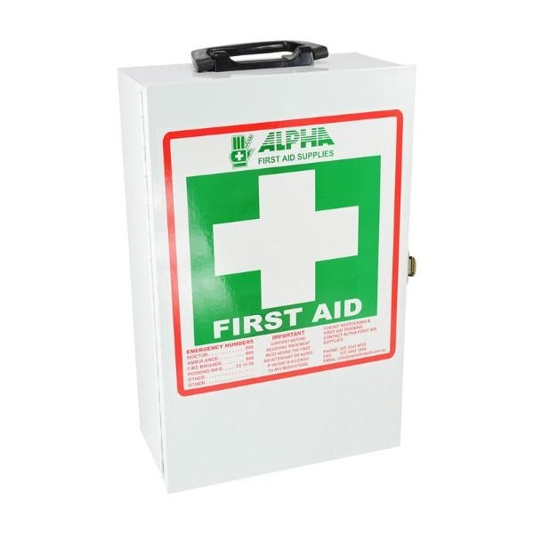 FIRST AID KIT WALL MOUNT WHITE METAL 290H x 230W x 110D