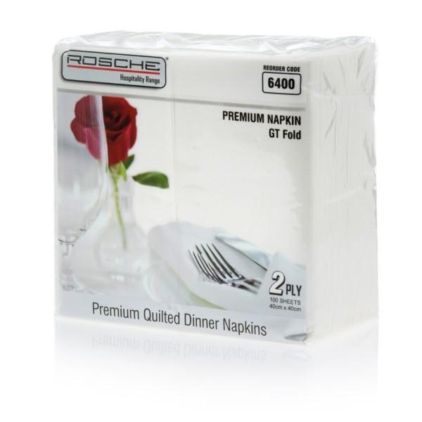 NAPKIN 2PLY DINNER WHITE ROSCHE GT FOLD PK100  (CTN1000)