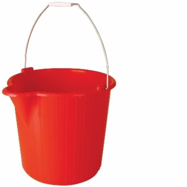 BUCKET 12LTR H/D ROUND RED OATES