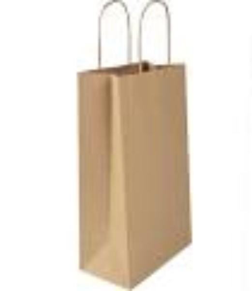 BAG BROWN WITH HANDLE LARGE 480X340 PK10  (CTN250)