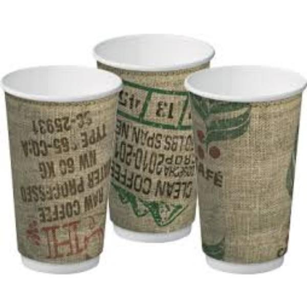 CUP 16oz COFFEE DOUBLEWALL JUTE PKT20 CTN 300
