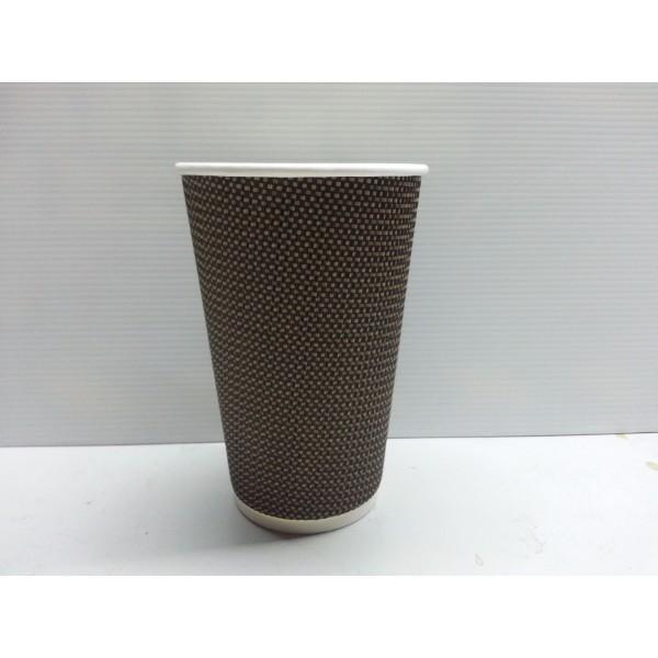 CUP 16oz COFFEE CHECKERED TRIPLE WALL BRN/BLACK PK25 (CTN500)