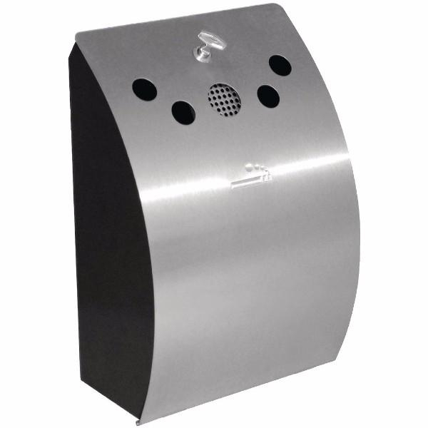 WALL MOUNTED ASHTRAY S/S. 352(h)x 245(w)x 142(d)mm.