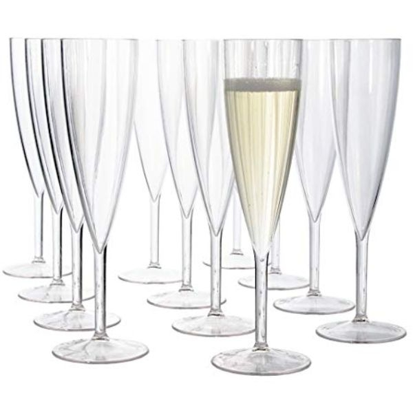 CHAMPAGNE FLUTE ONE PIECE PLASTIC PK 6