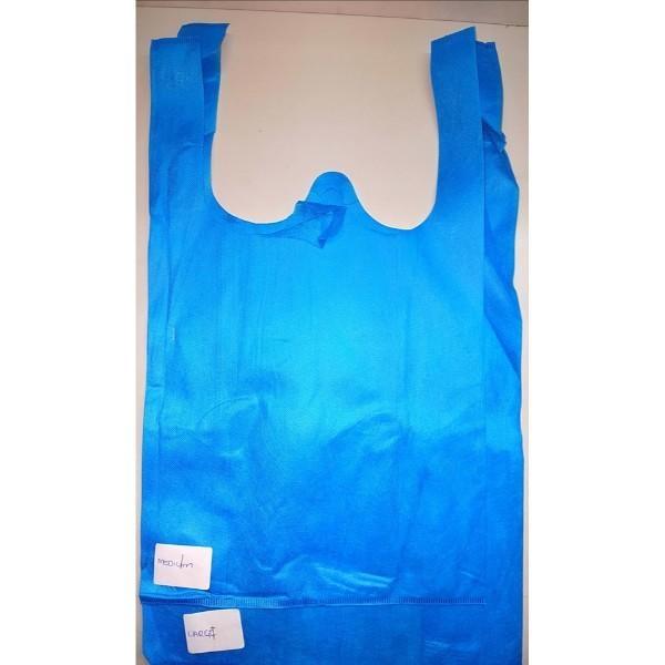 BAG SINGLET NON WOVEN LGE BLUE EACH (PK100) L33xW17xH60