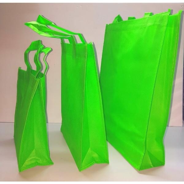 BAG NON WOVEN W/HANDLE MED GRN EACH (PK12) L28xW10xH33