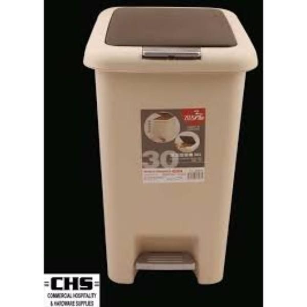 BIN PEDAL 50LT WITH FLIP LID ER BROWN