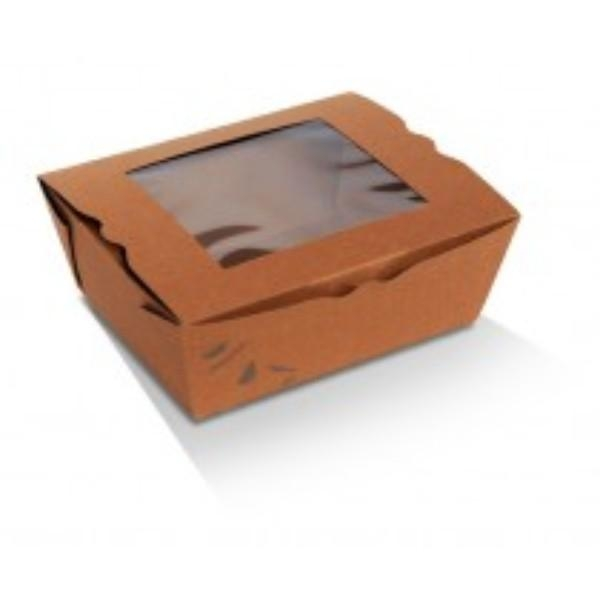 BOX LUNCH BRN PLA WINDOW MED 152x120x64 1000ml PK50  (CTN200