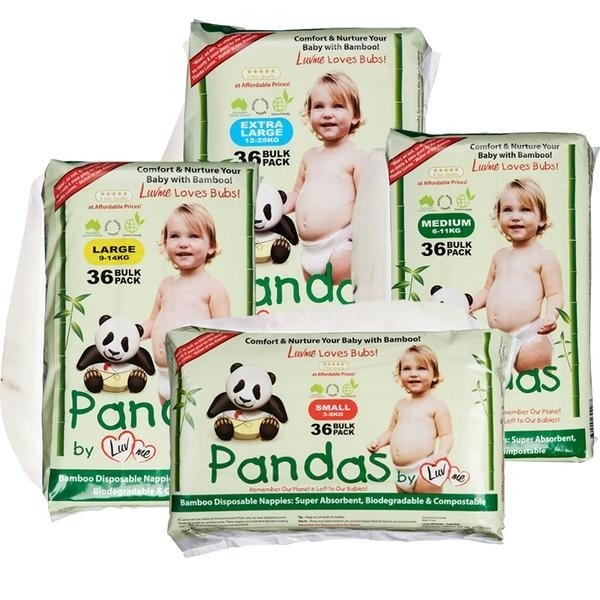 NAPPIES LUVME BIODEGRADABLE BAMBOO LARGE PK36  (CTN216)