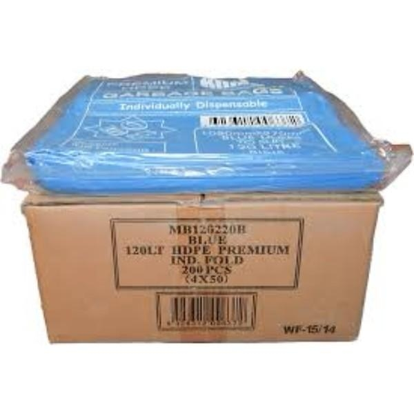 BAG GARBAGE 120LTR BLUE HEAVY DUTY PK50  (CTN200)