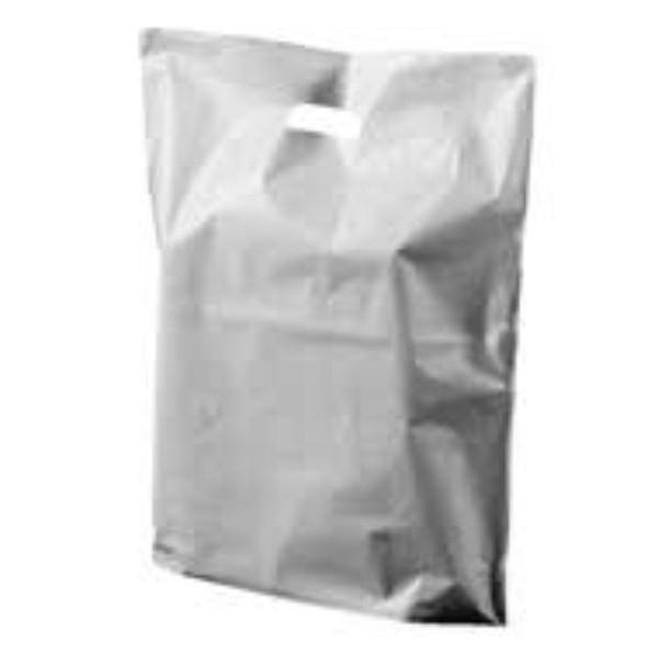 BAG POLY BOUTIQUE LGE SILVER PK 100 (CTN500) 530X415