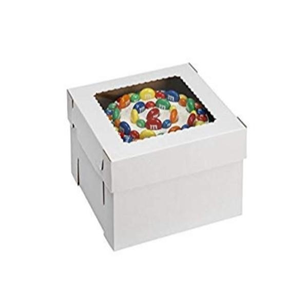 CAKE BOX WHITE B-FLUTE CORRO 12x12x14 PK5 - Click for more info