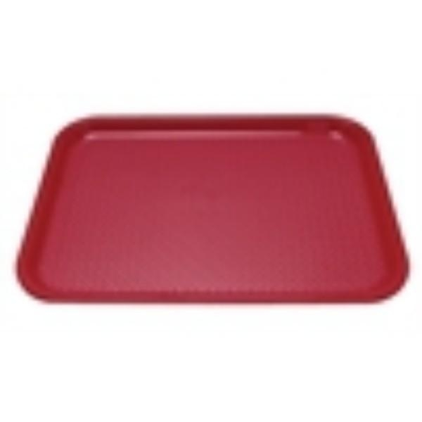 TRAY PLASTIC RED FAST FOOD LARGE 350 x 450mm