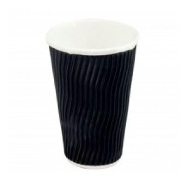 CUP 16oz WAVE TRIPLE WALL BLACK PK25 (CTN500) TAIL