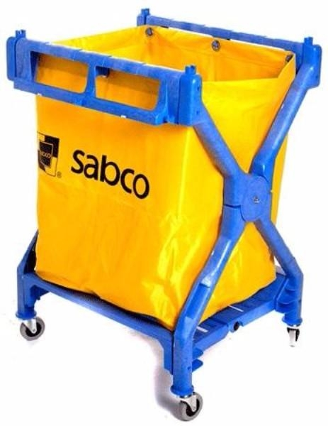 LAUNDRY SCISSOR CART HEAVY DUTY PLASTIC W/BAG - Click for more info