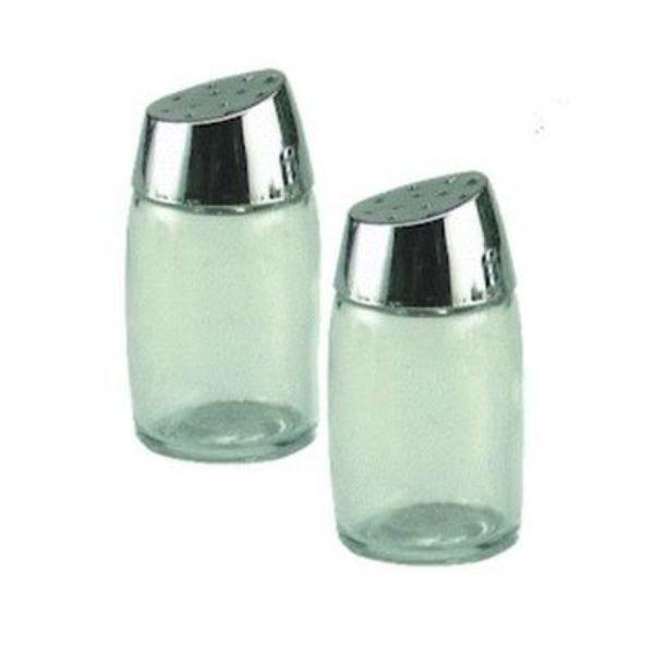 SALT OR PEPPER SHAKER 30ML GLASS/CHROME SLANT LID