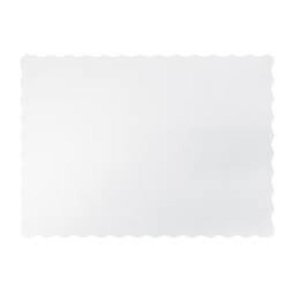 TRAY MAT WHITE SCALLOPED EDGE SLV 500 (CTN 1000)