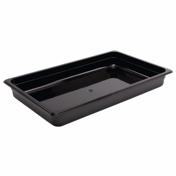STEAM PAN 1/1 65mm DEEP BLACK POLYCARBONATE 530x325mm